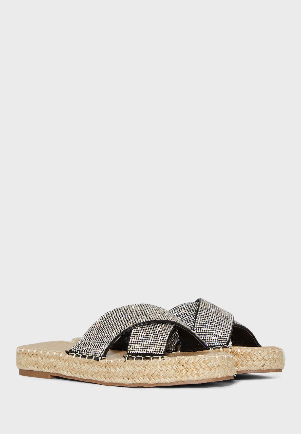 Diamante Cross Strap Espadrille Sandal