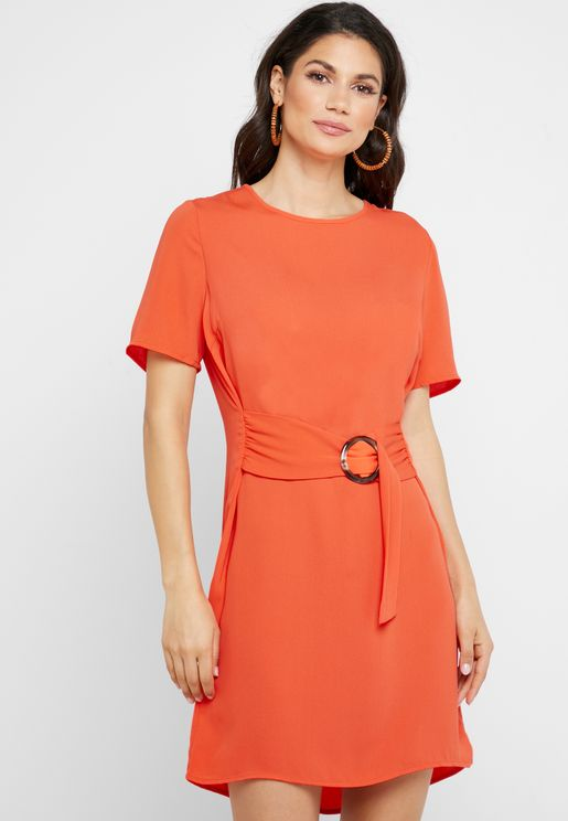 Ring Detail Belted Dress