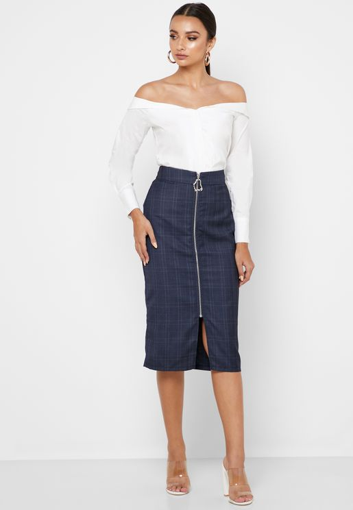 Front Split Full Zip Checked Skirt