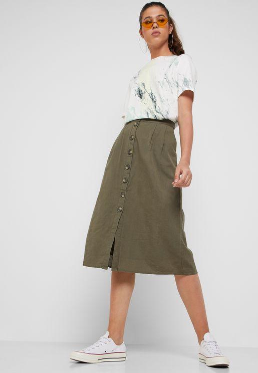 Button Through Linen Skirt
