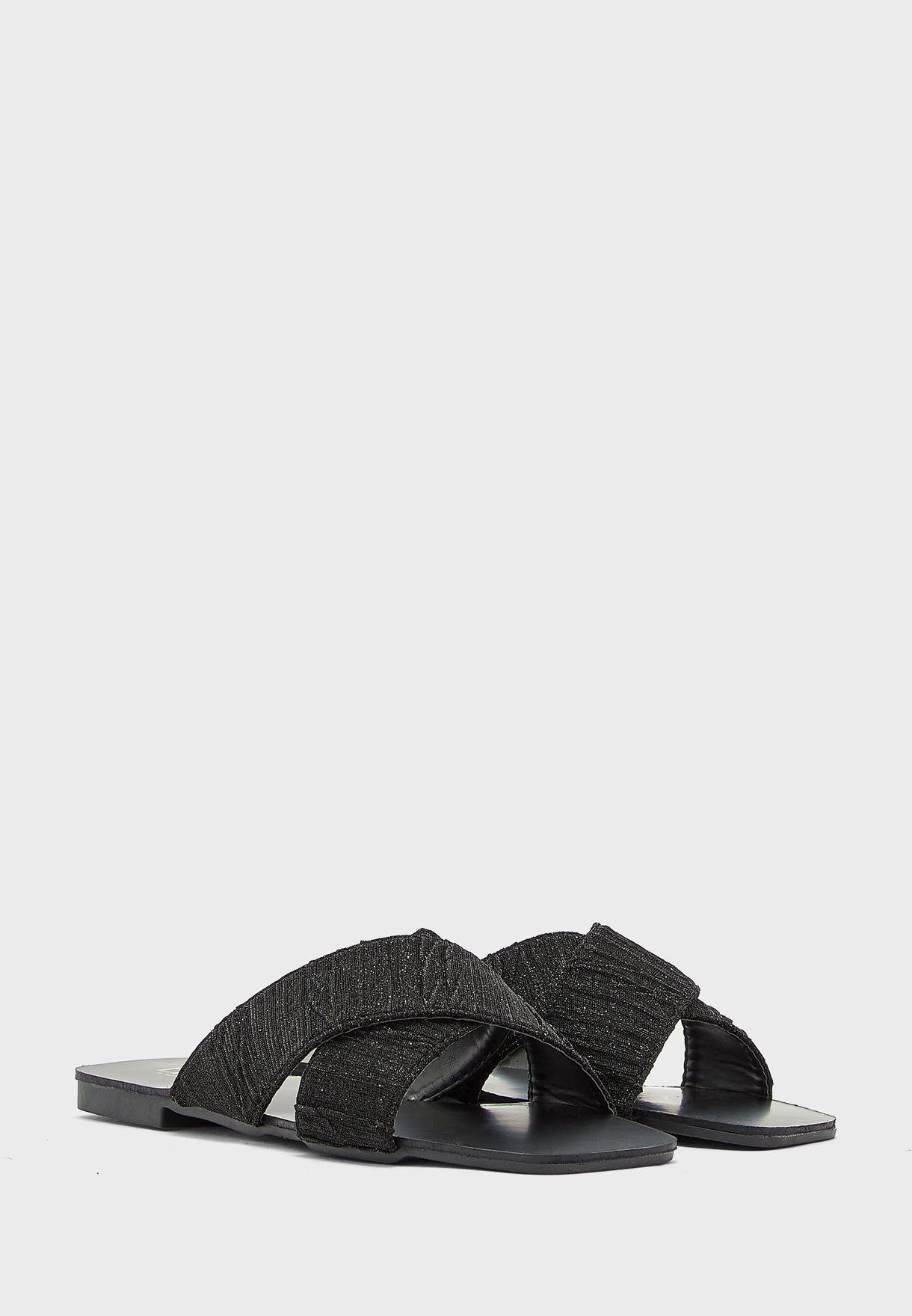 Shimmer Textured Cross Over Flat Sandal