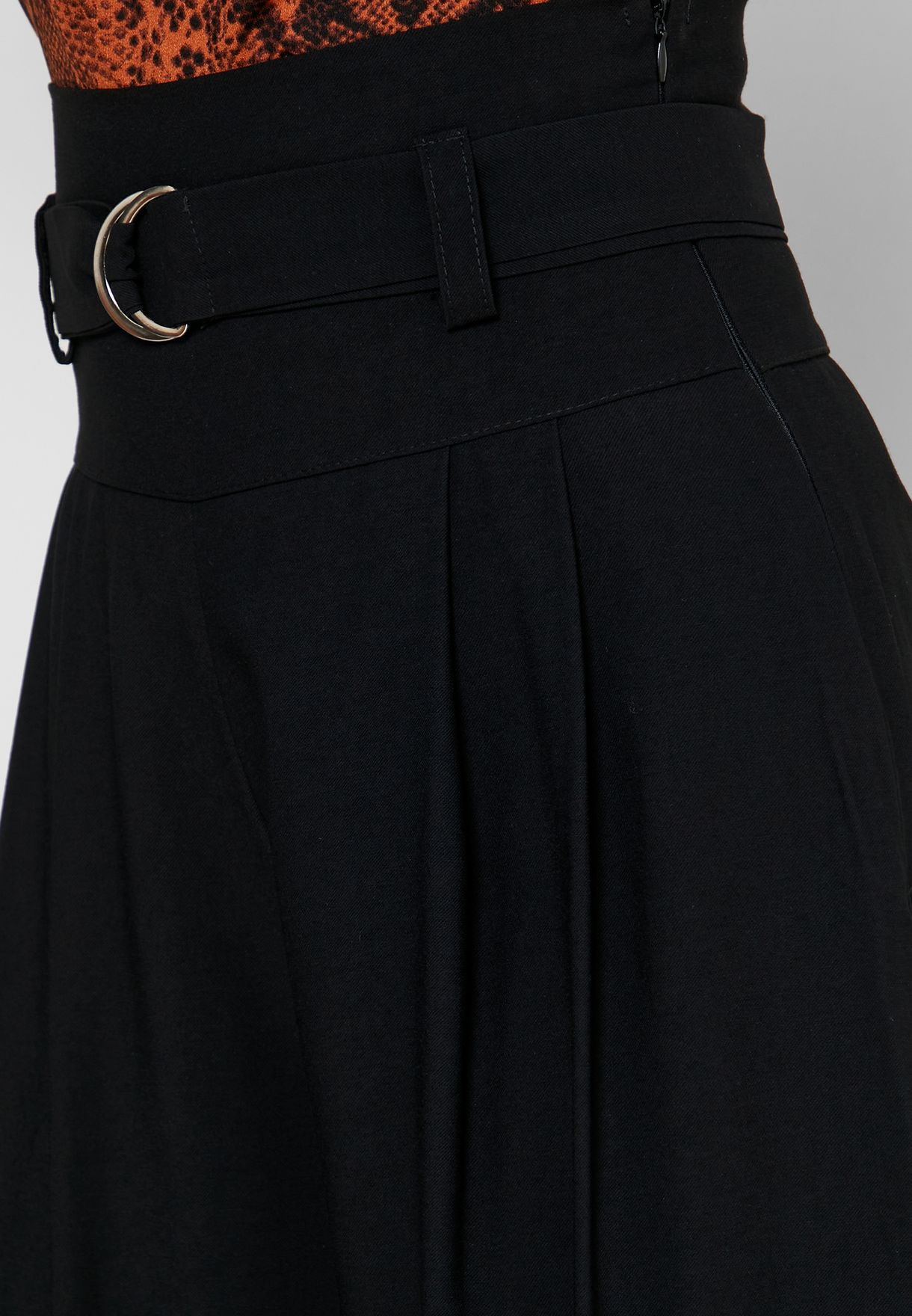 High Waisted D-Ring Belted Pants