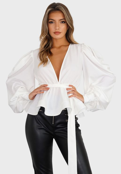 Puff Sleeves Flippy Hem Plunge Top