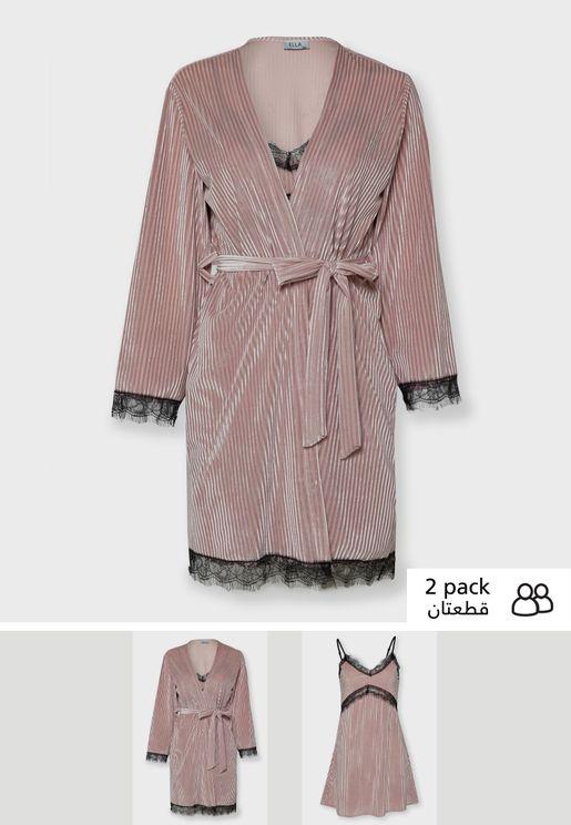 2 In 1 Pleated Velvet Nightdress Robe