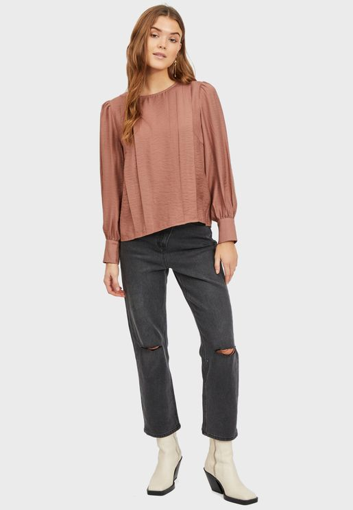 Pleat Detail Cuffed Sleeve Top