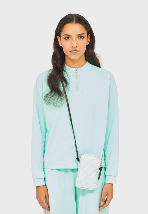 Zip Detail Crop Sweatshirt