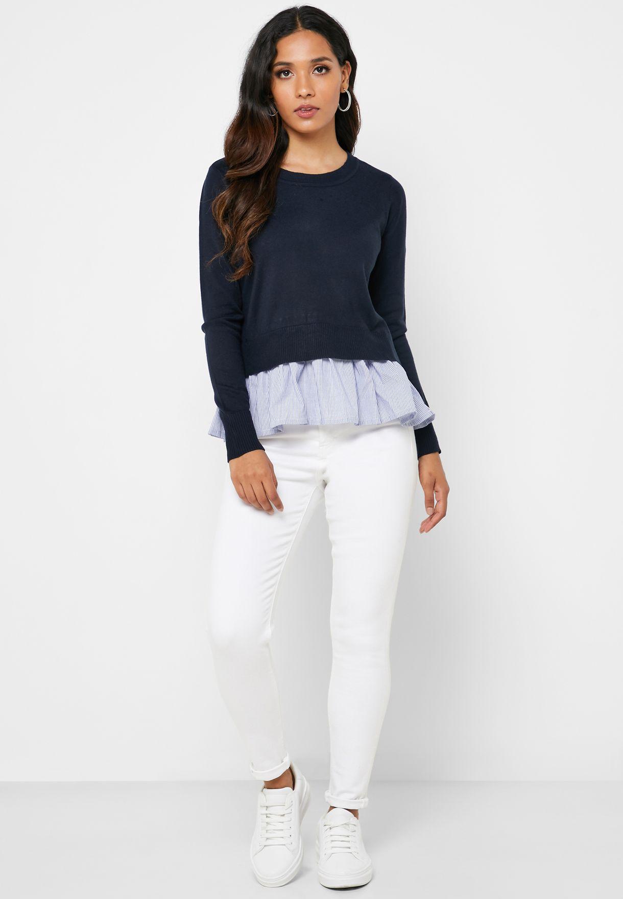 Striped Hem Layered Sweater