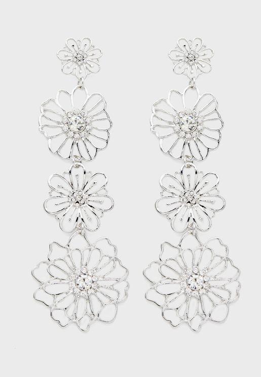 Flower Diamante Drop Earrings