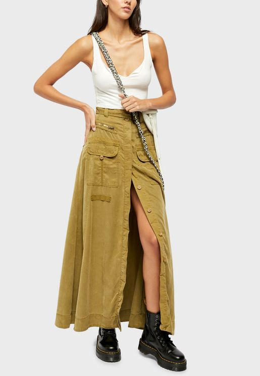 The Feeling Of Falling Button Down Maxi Skirt