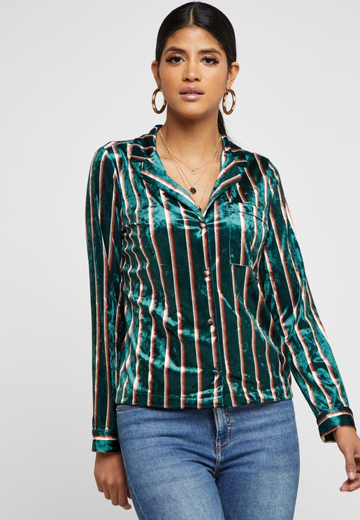 Striped Crushed Velvet Shirt