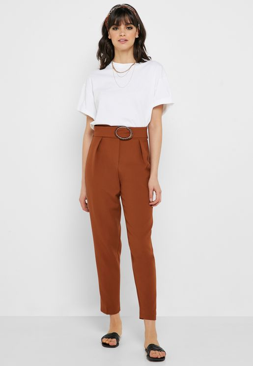 Belted Pleated Pants