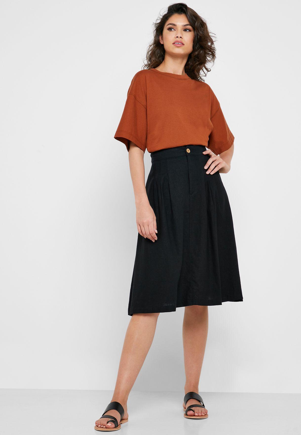 00d42c65d849 Shop Forever 21 black Button Detail Midi Skirt 315981 for Women in ...