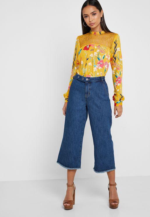 Raw Hem Cropped Wide Leg Jeans