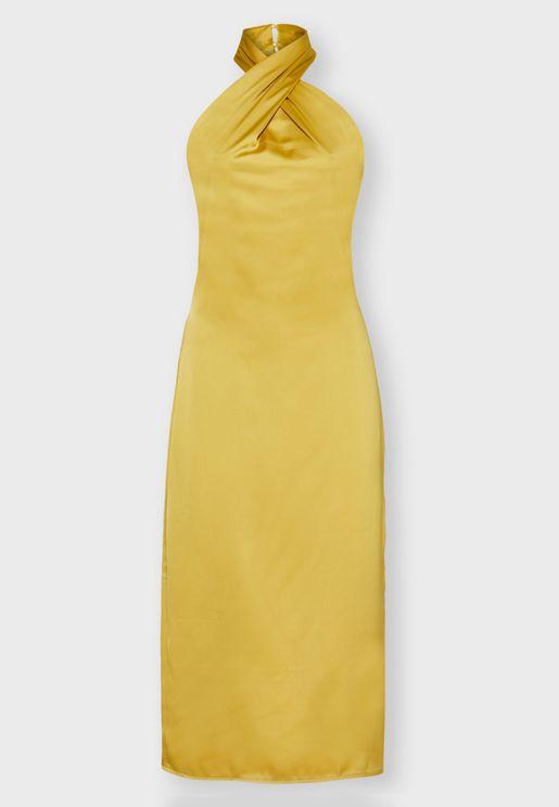 Criss Cross Neck Midi Dress