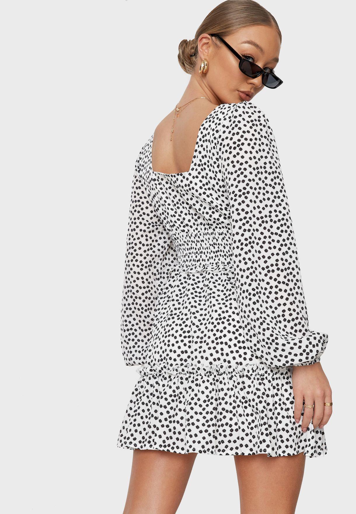 Shirred Waist Tiered Mini Dress