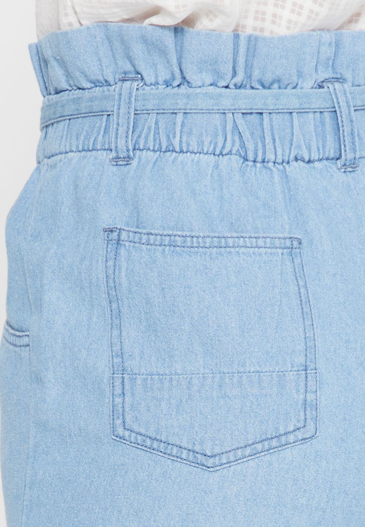 Ruffle Waist Tie Denim Shorts