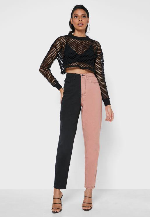High Waist Color Block Mom Jeans