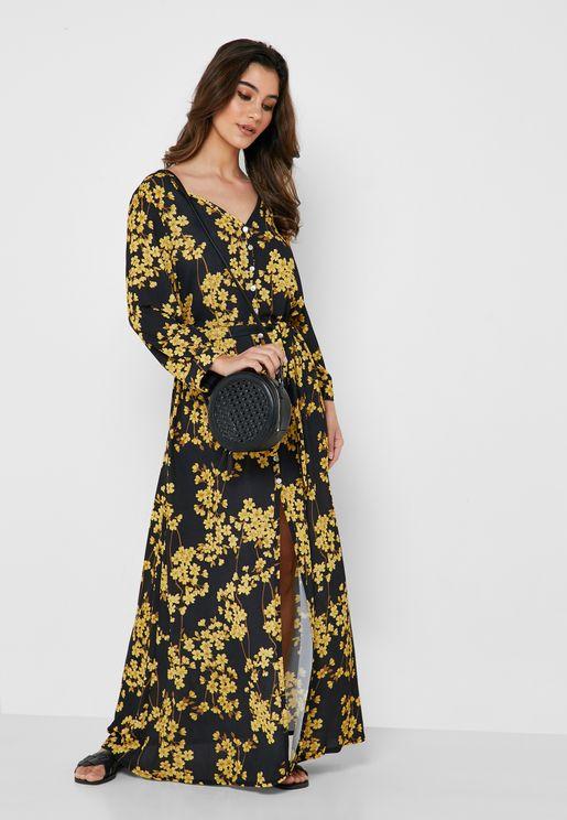 Floral Print Button Down Self Tie Maxi Dress