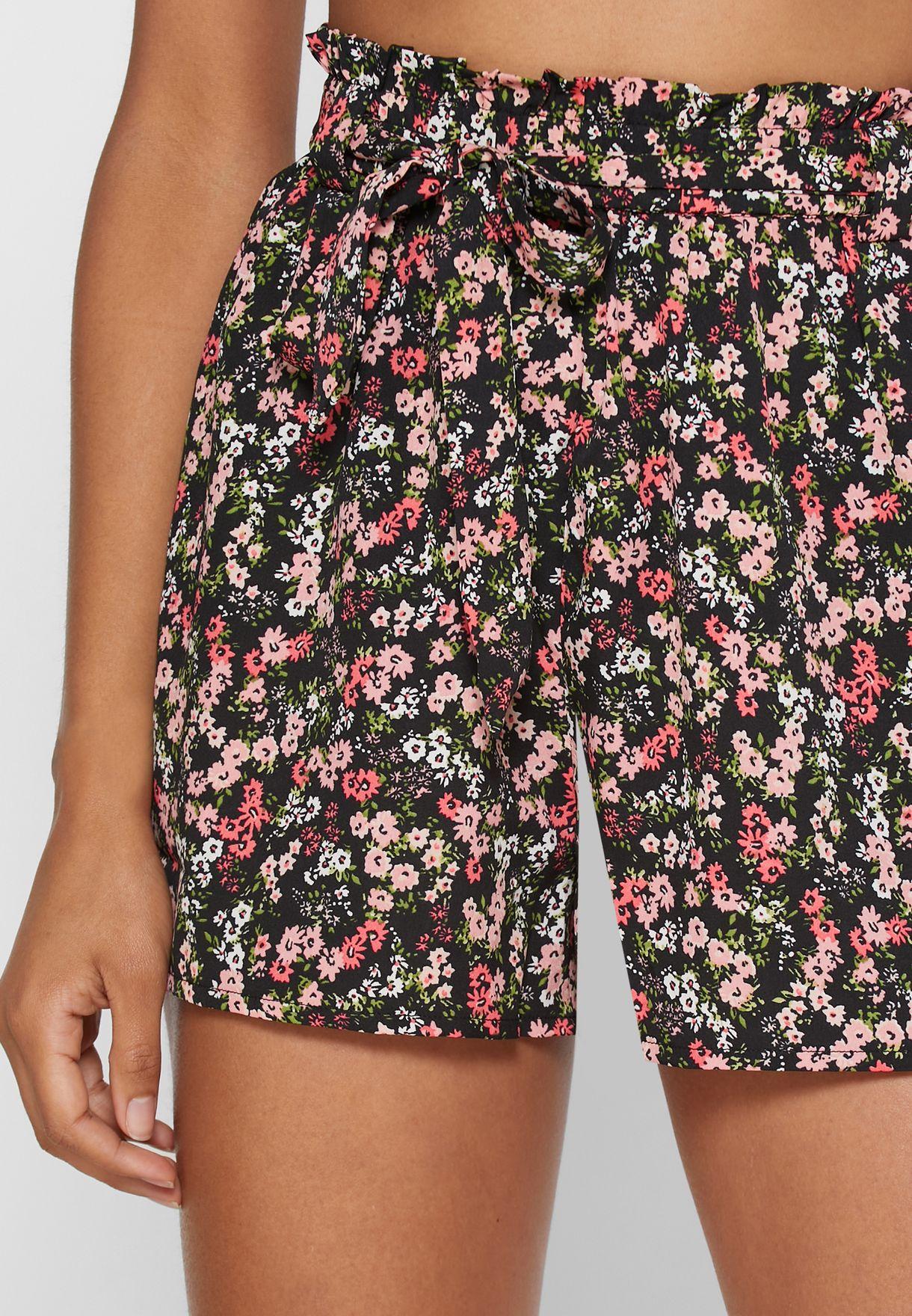 Ditsy Print Paperbag Shorts