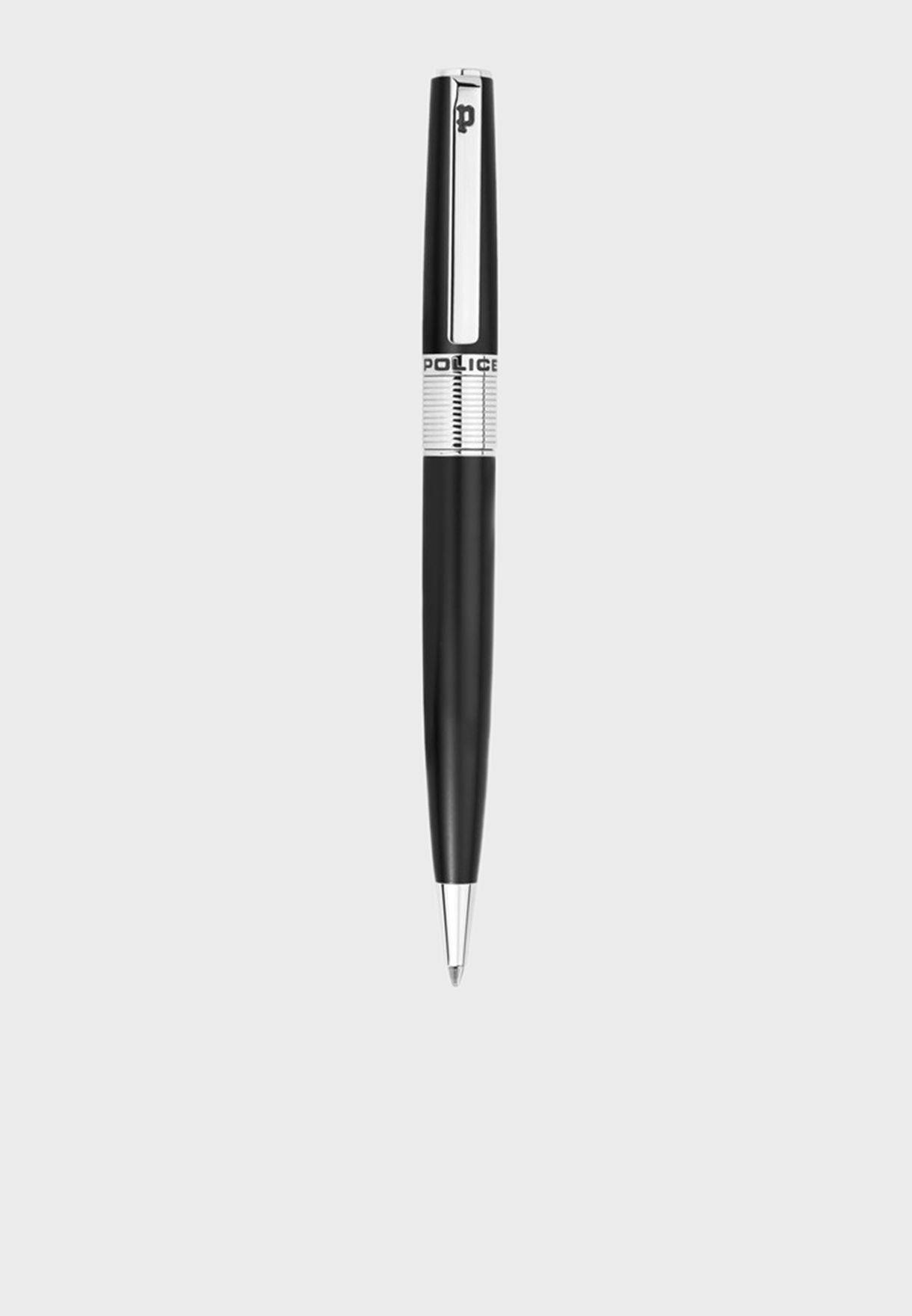 Police Serif Black Pen With Stainless Stell Plating