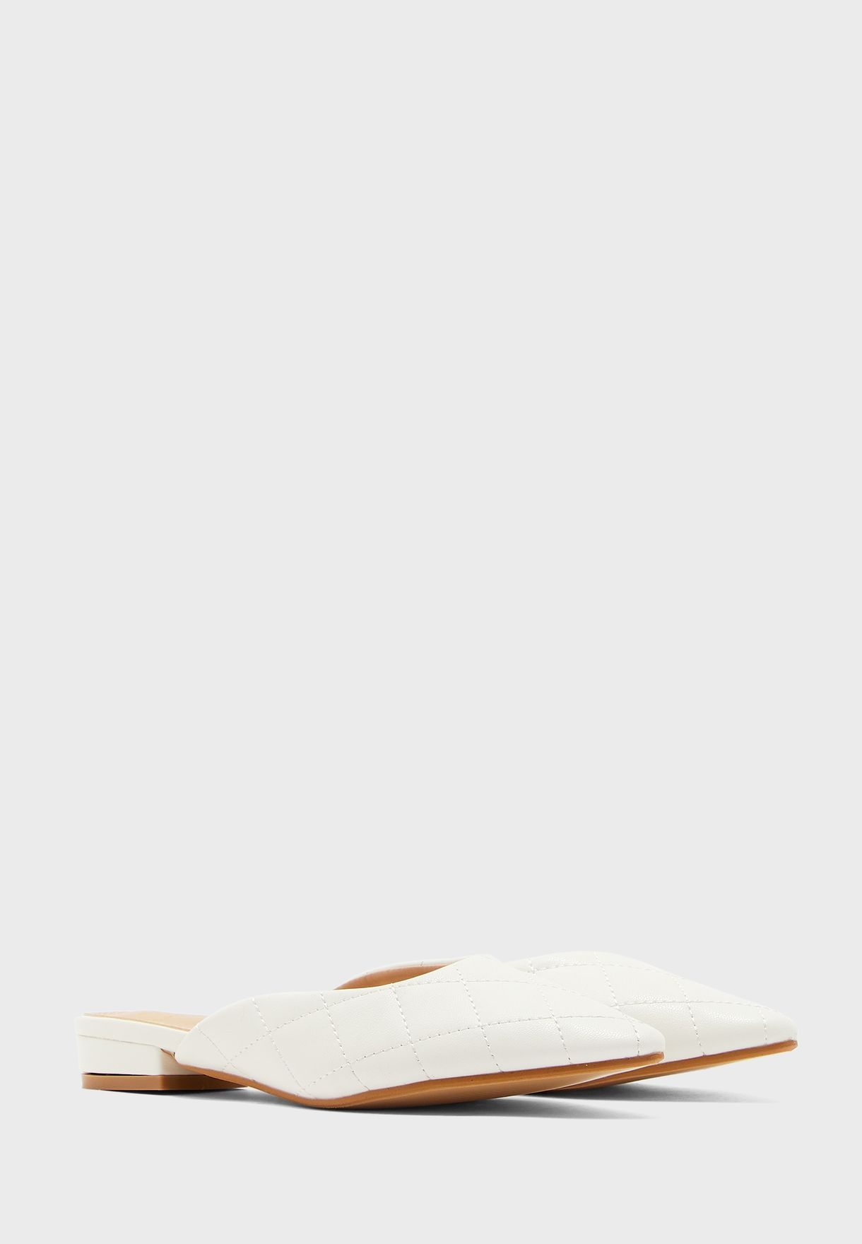 Pointed Quilted Slip On Shoe