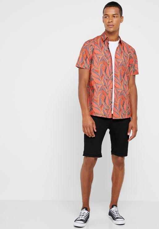 Folded Denim Shorts