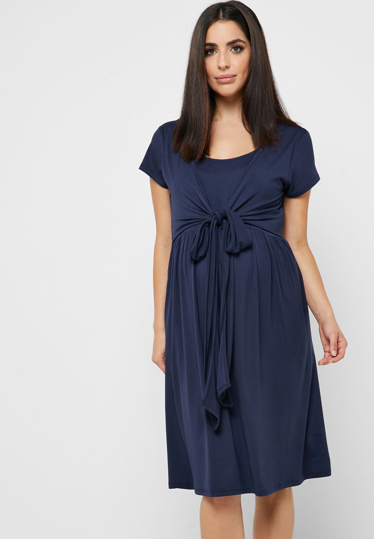Belted Wrap Maternity and Nursing Belted Dress