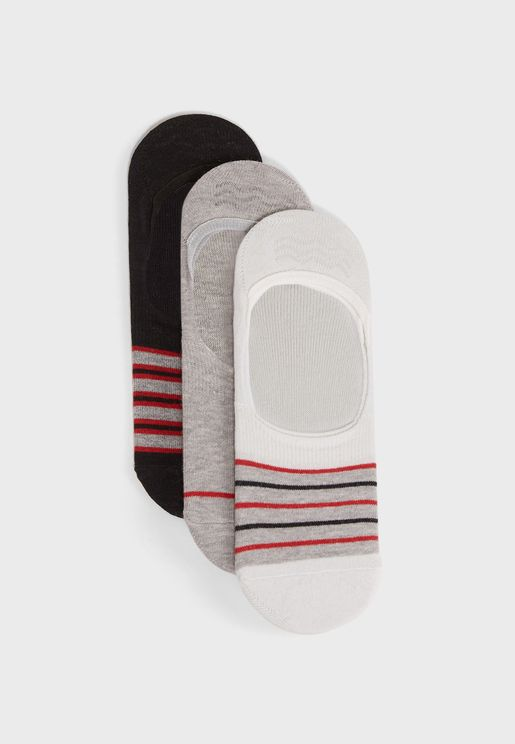 3 Pack Assorted No Show Socks