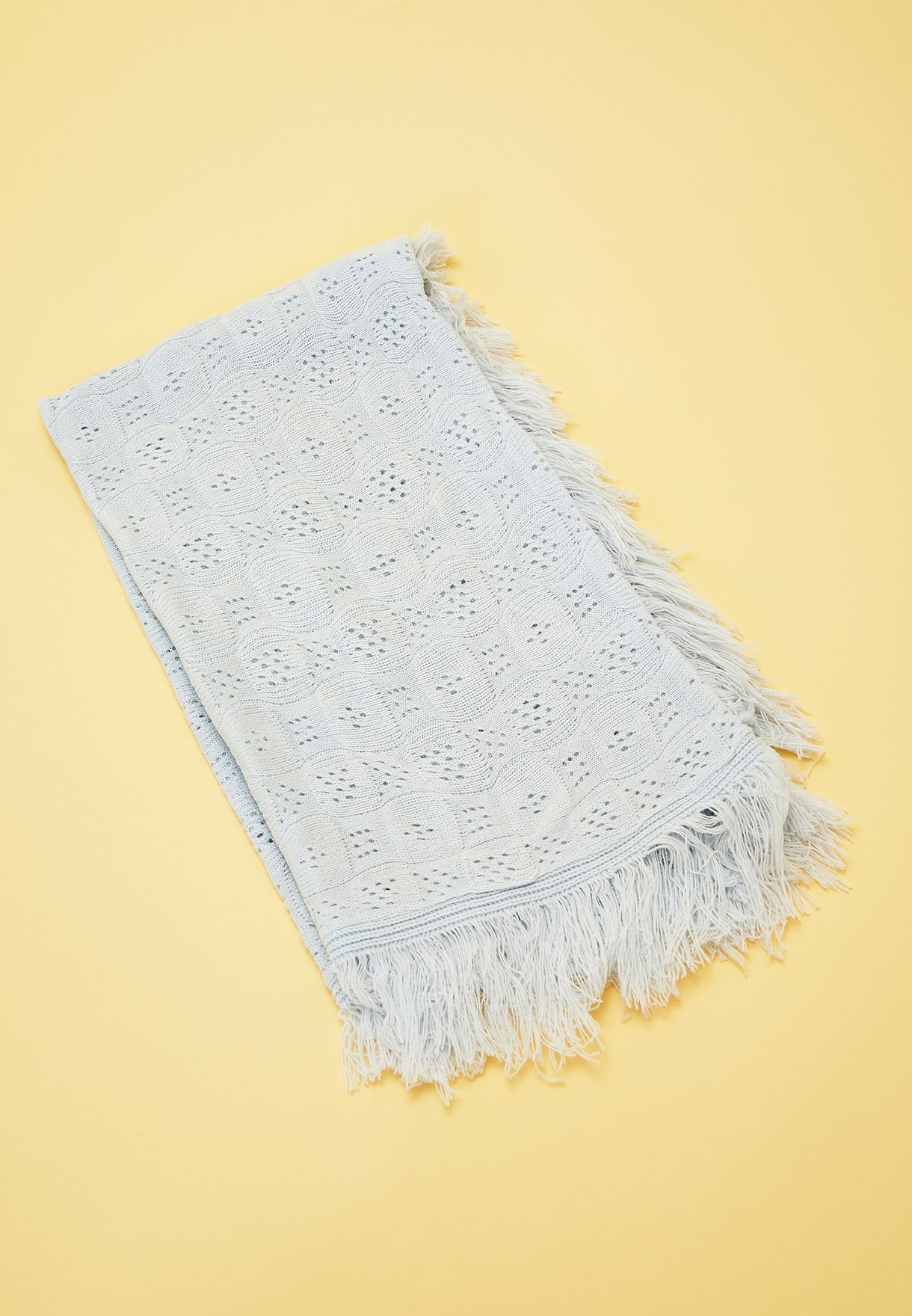 Shawl With Fringing - Blue
