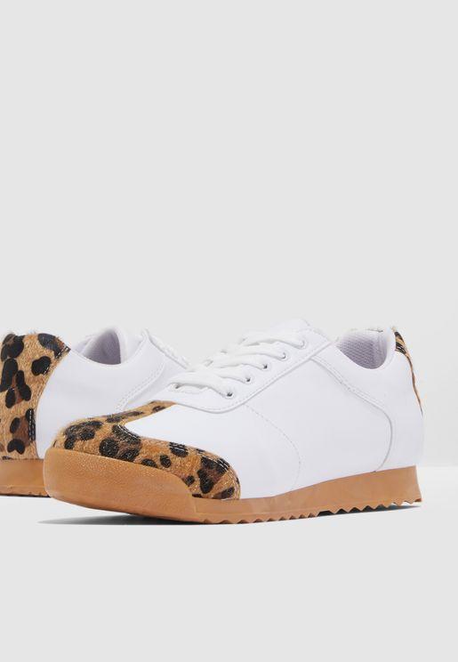Leopard Print Sneaker - White