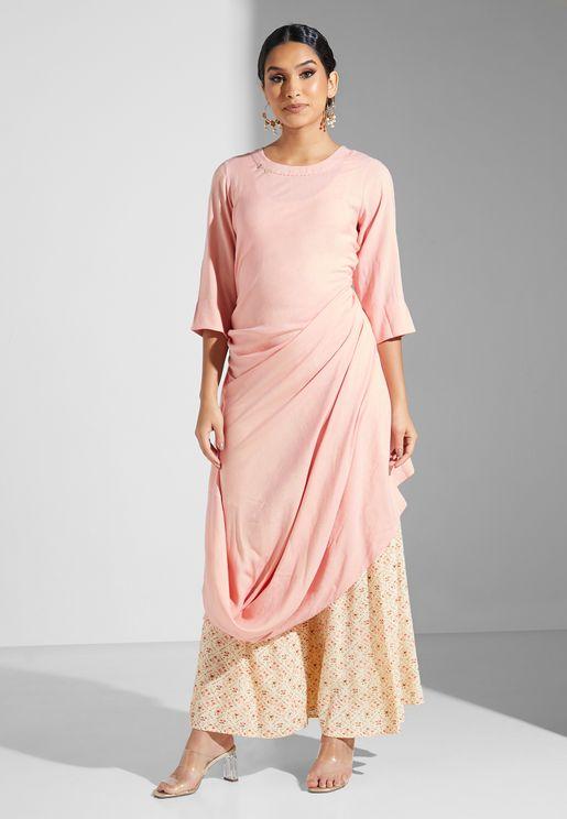 Floral Print Sharara Pants