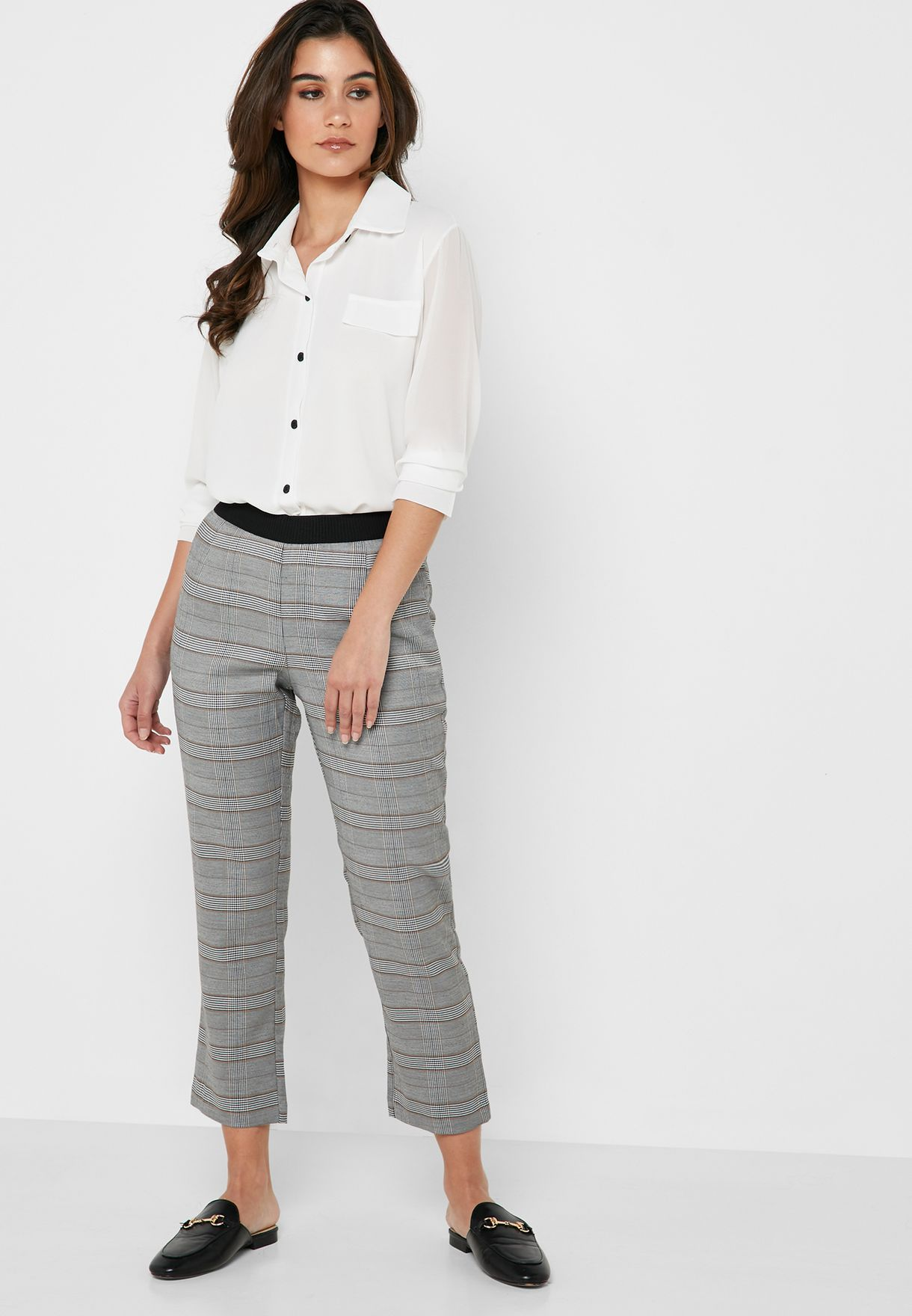 Checked Contrast Waist Pants