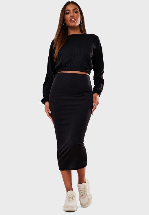 Rib Crop Top & Medaxi Skirt Set