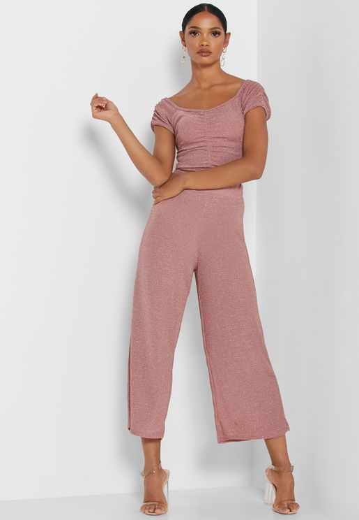 Lurex Cropped Pants Set