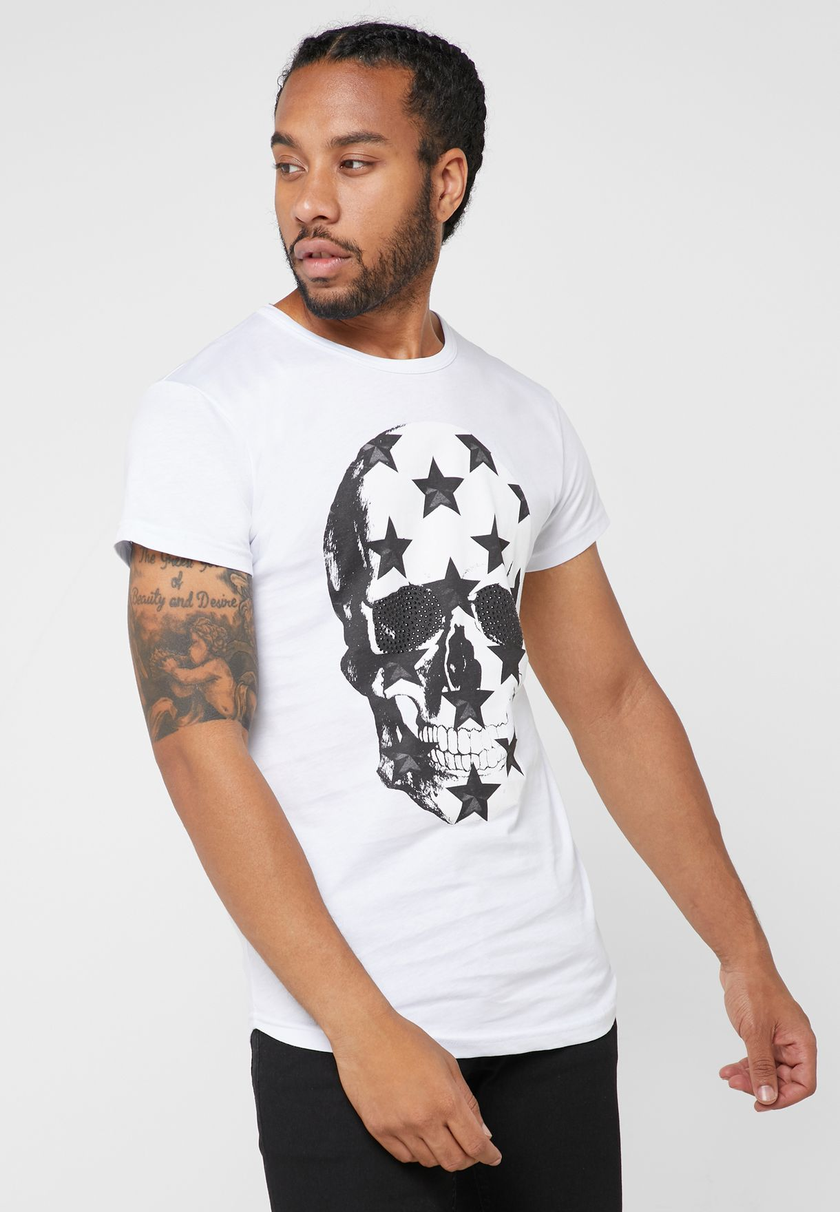 Star Skull Print Crew Neck T-Shirt
