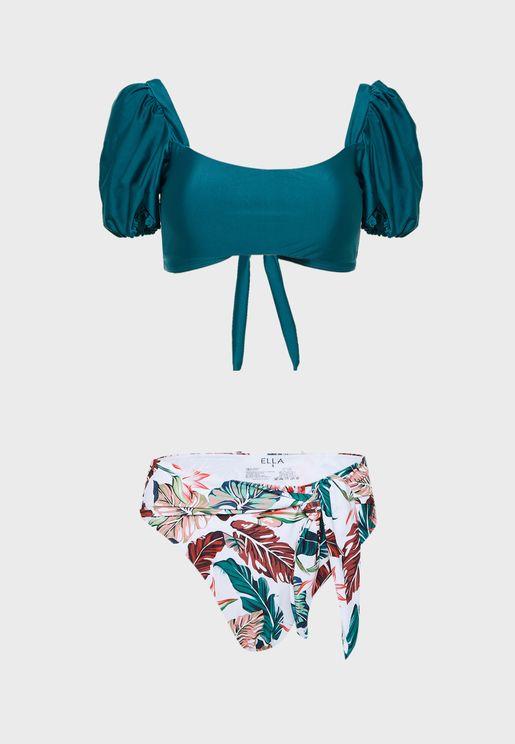 Puff Sleeve High Waist Bikini