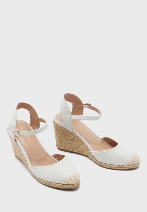 Wide Fit  Ankle Strap Wedge Pump