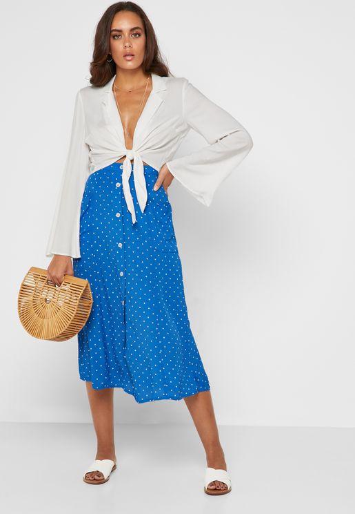 Polka Dot Button Midi Skirt