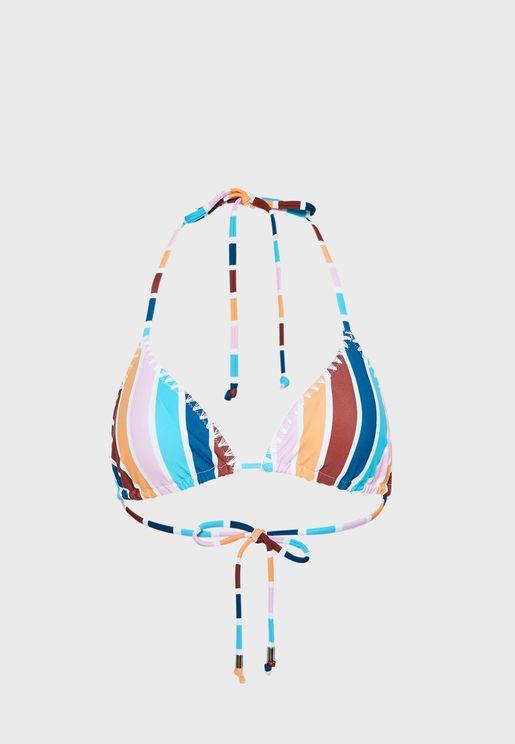 Ollo Stripe Print Bikini Top