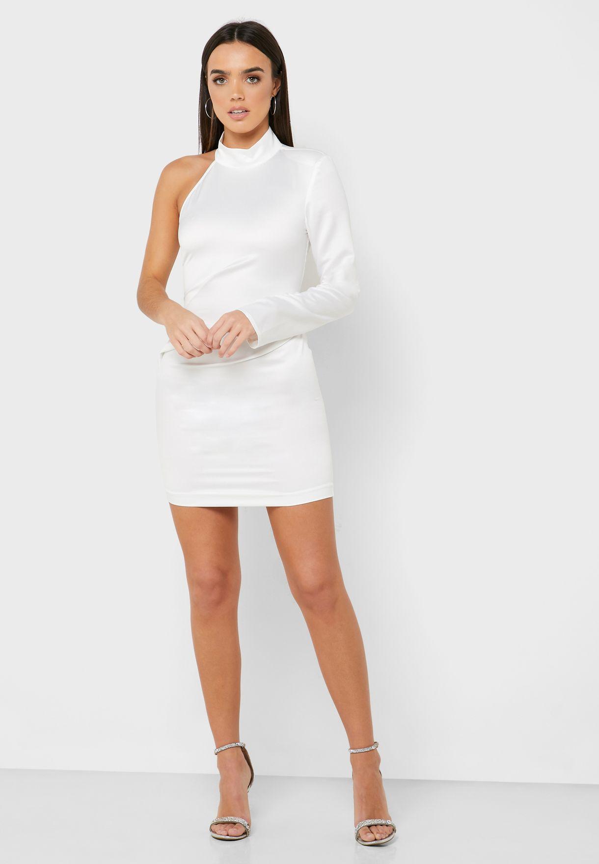 One Shoulder Ruched Detail Dress