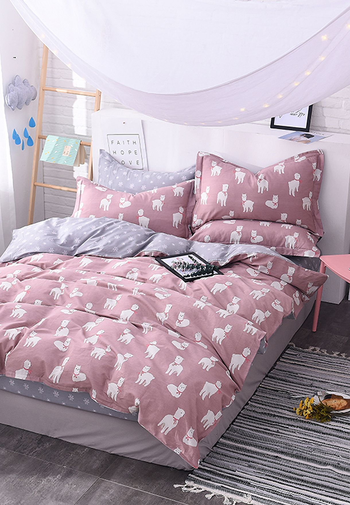 Reversible Llama and Floral King Size Bedding Set - 200x230cm