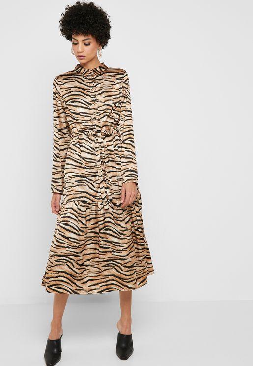 Animal Print Tie Waist Dress