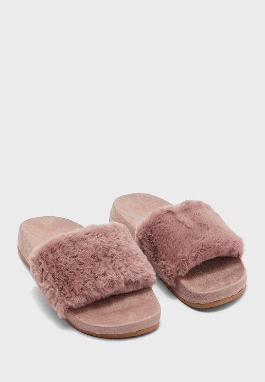 Staycozy2 Faux Fur Slides