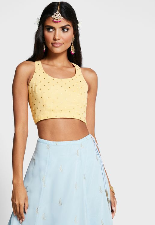 Indya X Payal Singhal Yellow Foil Back Tie Crop Top