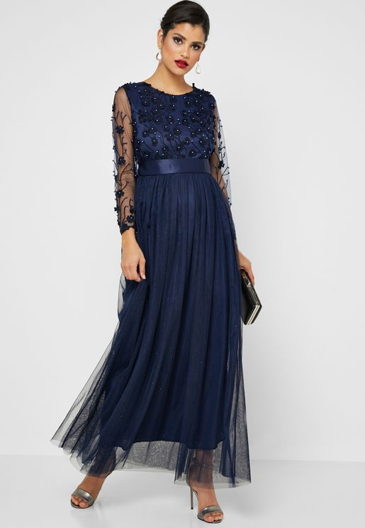 Embellished Top Maxi Dress