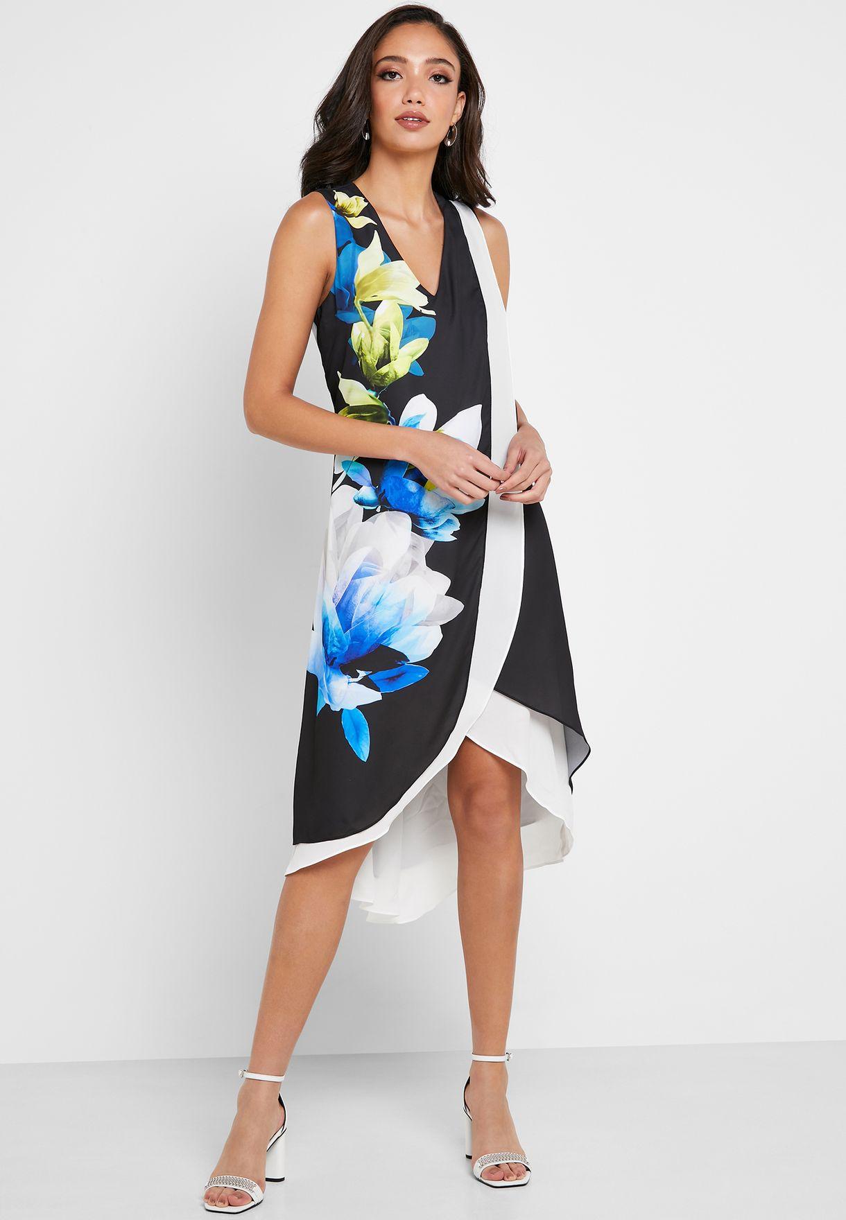 Floral Print High Low Dress