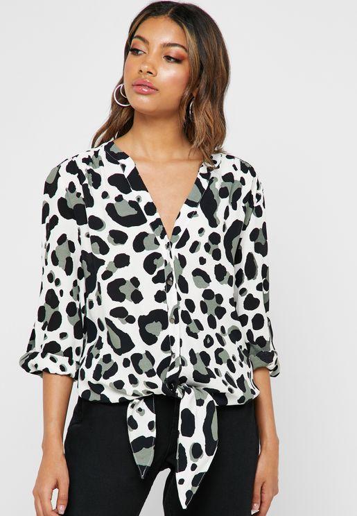 Leopard Print Front Tie Top