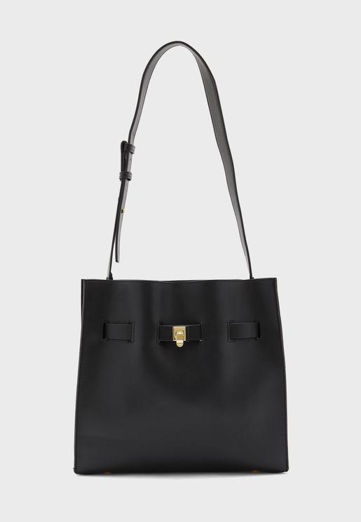 Strap Detail Tote Shoulder Bag