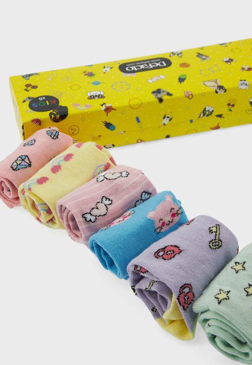 Kids 6 Pack Assorted Crew Socks