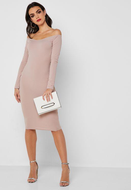 Ribbed Bardot Bodycon Dress
